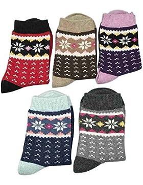 Damen Wintersocken, MädchenSocken, Warme Socken, 5er Pack Damen Dicke Baumwolle Stricksocken Damen Warme Dicke...