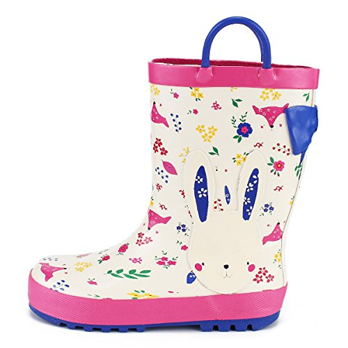 KushyShoo Kids' Wellies Wellington Rubber Boots with Handles for Boys and Girls
