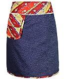 Sunsa Damen Rock Jeansrock Sommerrock Wickelrock Wenderock aus Baumwolle Zwei optisch verschiedene Röcke, Größe ist variabel verstellbar durch Druckknöpfe