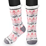 Anti Rutsch Socke, Winter Hausschuhe Socken, Damen Nicht Gleiten Strick Fleece Gefütterte Warme Slipper-Socken, Dicke Haussocken Plüsch Innen-Socken Geschenk, Einheitsgröße