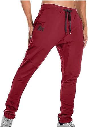 Brokig - Pantaloni da ginnastica da uomo, stile casual, vestibilità slim fit, adatti per la corsa, con doppie tasche