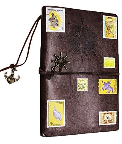 Superstar88 Journal Reisetagebuch Anker Ringbucheinlagen Zeichenfolge Gebunden Leeren Notebook nachfüllbar Spirale Notizbuch Notizblöcke mit DIY Retro Sticker Stamp (Dunkelbraun)