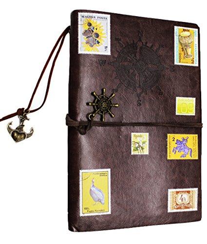 Preisvergleich Produktbild Superstar88 Journal Reisetagebuch Anker Ringbucheinlagen Zeichenfolge Gebunden Leeren Notebook nachfüllbar Spirale Notizbuch Notizblöcke mit DIY Retro Sticker Stamp (Dunkelbraun)