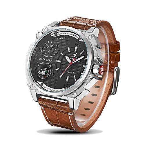 EASTPOLE Herrenuhr Duale Zeitzone Kompass Leder Sport XXL Quarz Analog Armbanduhr WMB115