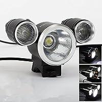 AGM Fahrradbeleuchtung Set, Wiederaufladbare LED Fahrradlampe, 1400LM , 3 Licht-Modi, ( 1x18650 wiederaufladbarer Akku+1 x Ladegerät+1 x Verlängerungskabel+2 x O-Ring aus Gummi)