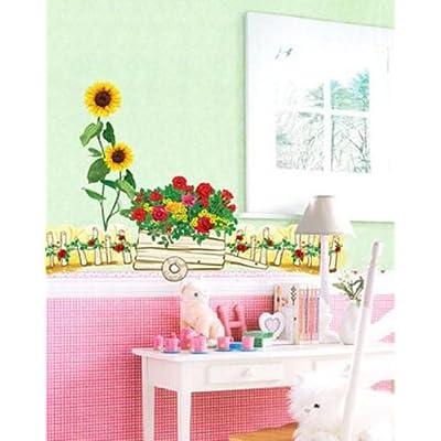 Flower Cart Mural Wall Home Art Decor Sticker ECO-008