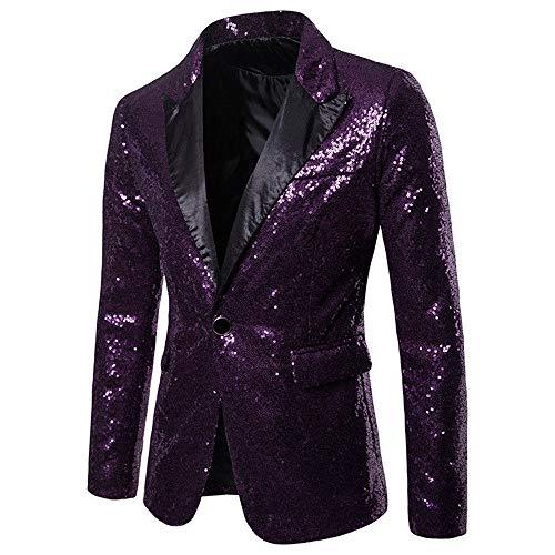 Herren Shiny Pailletten Anzug Multi Farbe und Größe der Männer Hübsche Jacken-Blazer für Nachtklub, Hochzeit, Partei (XXLarge, Lila)
