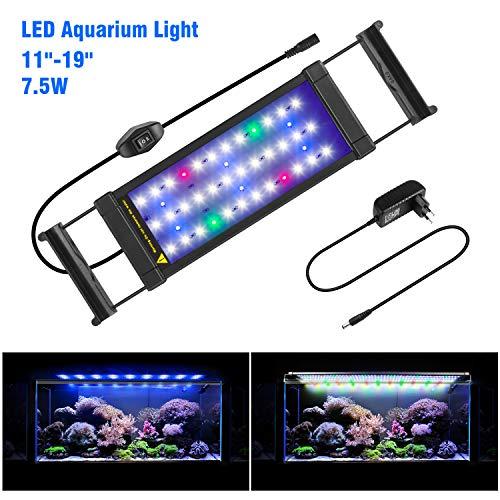 FTALGS Aquarium LED Beleuchtung Aquariumbeleuchtung Weiß Blau Rot Grün von Licht (40A=11.8''-21.6''(28CM))