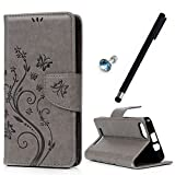 MAXFE.CO Leder Tasche Case Cover für Wiko Lenny 3 Hülle PU Schutz Etui Schale gray Muster Design Backcover Flip Cover Wallet mit Standfunktion Karteneinschub Etui + 1xDust plug+ 1x Touch Pen