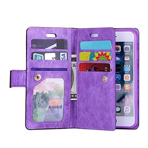 iPhone 6s PU Leder Hülle MitKartenfach, Bookstyle Handytasche Flip Case Magnet Dünn, Wallet Card Zip zum iPhone 6 Schutzhülle (Blau) Lila