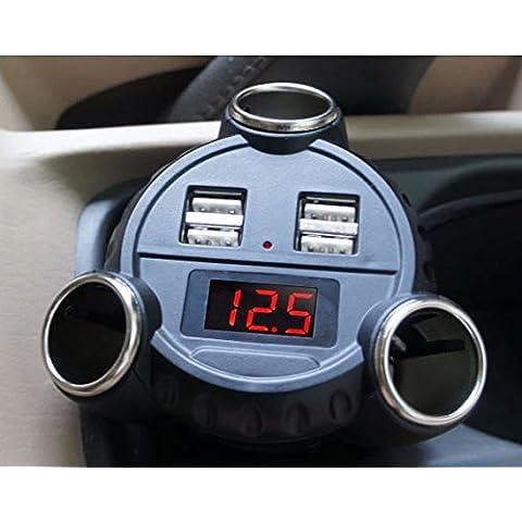 BlueBeach® 3en1 4 x USB cargador de coche + 5A 180W 3 x Cigarrillos Mechero + voltímetro