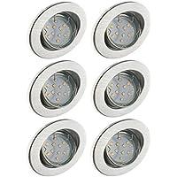 Trango 6er Conjunto de focos empotrables LED iluminación empotrada Foco de techo de aluminio inoxidable TG6729-069B incluido 6 bombillas LED GU10 girando directamente a 230V
