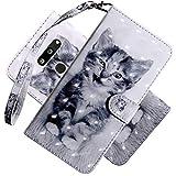COTDINFOR LG K50 Hülle 3D-Effekt Painted cool Schutzhülle Flip Bookcase Handy Tasche Schale mit Magnet Standfunktion Etui für LG Q60 / K50 Smiley Cat BX.