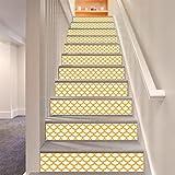 LLL LT010 Gelb Weiß Treppenhaus Aufkleber Blau Hintergrund Entfernbar Selbstklebend Wasserdicht Wandgemälde