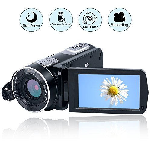 VideoKamera Camcorder Full HD 1080p 24,0 MP Digital Camcorder Nachtsicht 18X digitaler Zoom mit...