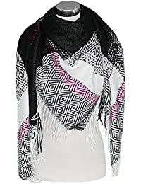 Mevina XXL Damen Schal Kariert Dreieck mit Fransen übergroßer quadratisch Deckenschal Wolle Karo Tartan Streifen Plaid Muster Oversized Poncho