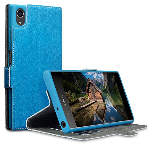 Terrapin, Kompatibel mit Sony Xperia XA1 Plus Hülle, Leder Tasche Case Hülle im Bookstyle mit Standfunktion Kartenfächer - Hellblau