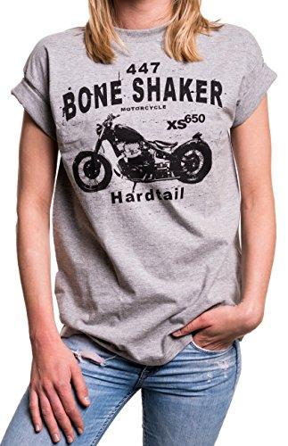 Biker Shirt Damen übergröße - Biker Lady XS 650 Motorrad Kurzarm Longshirt große Größe Oversize grau M (Harley-davidson T-shirt Großes)