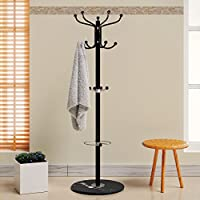 Deuba Coat Stand Clothes Rack Umbrella Holder Hat Stand Revolving Hooks Solid Marble Base Hallway Furniture Black 170cm