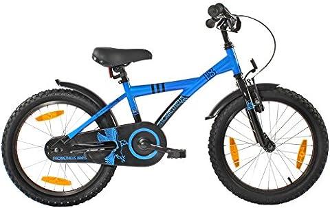 """PROMETHEUS Vélo enfant pour fils 18 pouces en bleu & noir avec béquille latérale   Frein à tirage latéral et frein à rétropédalage   à partir de 6 ans   18"""" BMX Edition 2017"""