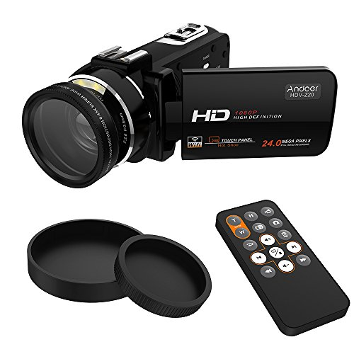 Hot Shoe Wireless (Andoer HDV-Z20 Portable 1080P Full HD Digital Videokamera mit 37mm 0.45 × Weitwinkelobjektiv Maximal 24 Megapixel 16 × Digitalzoom Camcorder 3.0