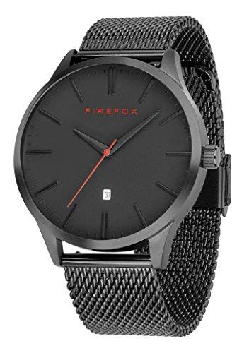 FIREFOX Herren- Armbanduhr XCHANGE analog Quarz Edelstahl schwarz Milanaise Mesh Armband Zifferblatt schwarz 5 ATM wasserdicht FFPL01-002