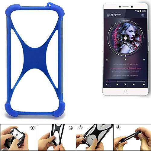 K-S-Trade Handyhülle für Elephone P9000 Silikon Schutz Hülle Cover Case Bumper Silikoncase TPU Softcase Schutzhülle Smartphone Stoßschutz, blau (1x)