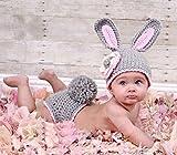 Buweiser Baby Häkelkostüm Strick Kostüm Fotoshooting Baby Fotos Ostern Bunny Hase Grau /