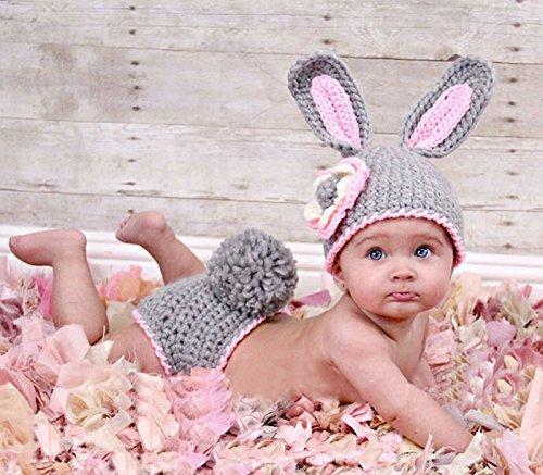 stüm Strick Kostüm Fotoshooting Baby Fotos Ostern Bunny Hase Grau / (Bunny-kostüme Für Babys)