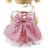 YWLINK Sommer Karierte Spitze Patchwork Süß Prinzessin Kleiden Haustier Hund Katze Kleid Atmungsaktiv Kleidung(Rot,XL)