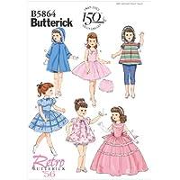 Butterick Patterns B5864 - Patrón e instrucciones para coser ropa de muñecas de hasta 45,7 cm de altura, color blanco