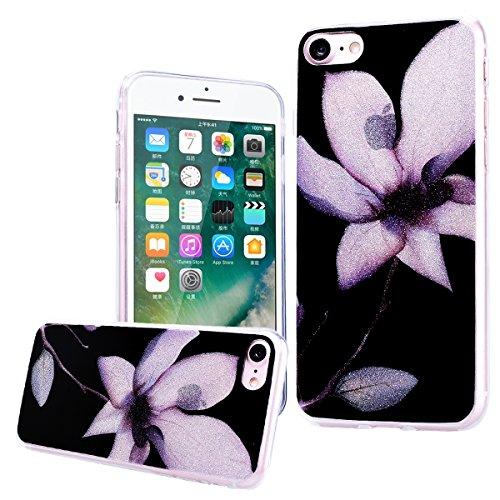 WE LOVE CASE Coque iPhone 7 Souple Gel Coque iPhone 7 Silicone Paillette Glitter Brillant Motif Fine Coque Girly Resistante Coque de Protection Bumper Coque Apple iPhone 7 fleur noir