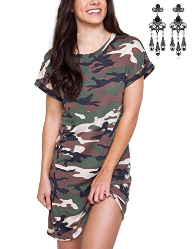 Modetrend Femme Manches Court Casual Robe Camouflage Imprimé Col Rond T-shirt Tunique Mini Robe camouflage