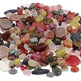 Perlin - 500g Edelstein Perlen Set Mix Rund Würfel Oval 10mm bis 35mm Schmucksteine Halbedelstein für Schmuck Konvolut Edel Bastelset G290
