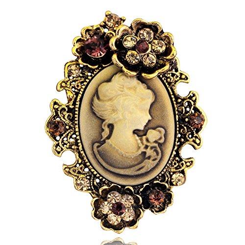 y Portrait Brosche, Viktorianischen Design Crystal & Stahl PIN für Pullover, Schal, Mantel, Handtasche (Stil 2 Gold)- Samtlan (Viktorianischen Stoff)