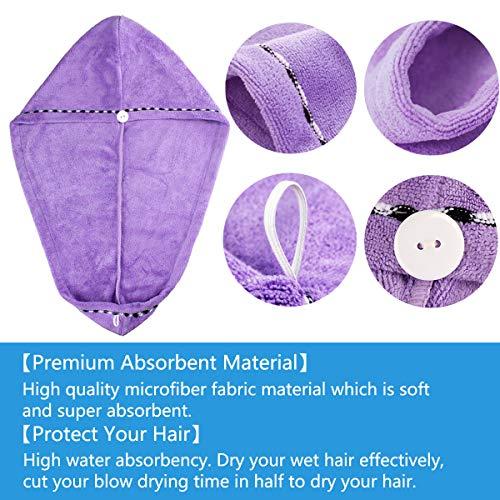 3 Piezas de Toalla de Pelo de Microfibra Turbante,  Ultra absorbente Toallas para Secar Pelo con Botón,  Pelo Gorro de Cabeza de Secar Rápido para Mujeres,  Suave Absorbentes de Agua Pelo Seco Sombreros