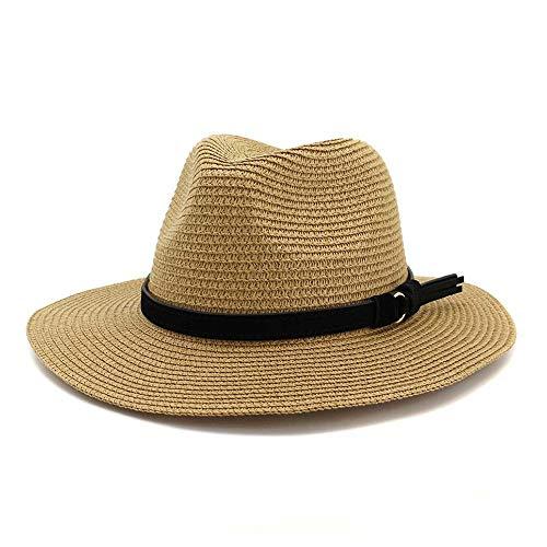 LIWIN 2019 Mode Neue Sommer Panama hüte aushöhlen Stroh Sonnenhut for männer Frauen Leder Band große krempe Strand Jazz Cap (Farbe : Light Coffee, Größe : 56-58CM) -