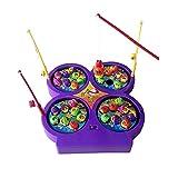 Jerryvon Mini Juego de Pesca Electrónica Magnética con Música para Niños, Color Varía
