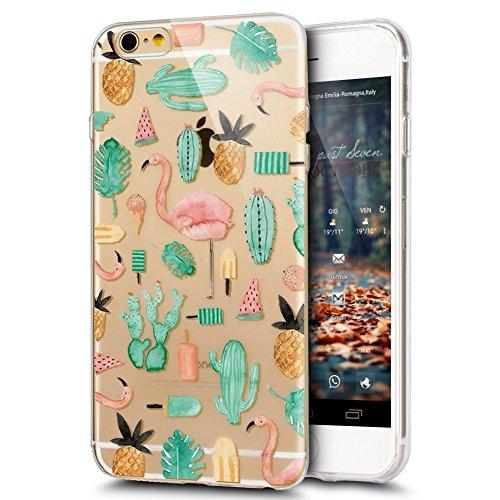 JAWSEU Coque Etui pour iPhone 7,iPhone 7 Coque Transparent en Silicone,iPhone 7 Étui Tpu Cristal Clair,Ultra Slim Mince Coloré Créatif Lovely Flamingo Motif Silicone Gel Protecteur Téléphone Couvertur Flamingo 14