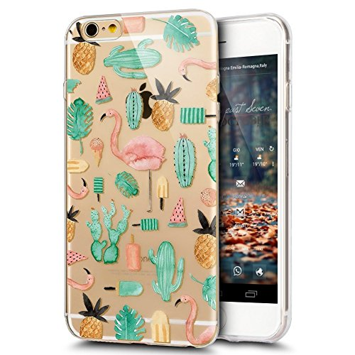 iPhone 6S Plus Hülle,iPhone 6 Plus Hülle,iPhone 6S Plus/6 Plus Silikon Hülle Tasche Handyhülle,SainCat Flamingos Flamingos Muster Ultra dünne Silikon Hülle Schutzhülle Durchsichtig Hadytasche Stoßfest Cactus Flamingo