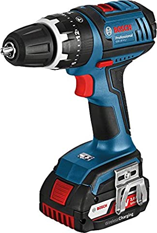 Bosch Professional GSB L-Boxx 18 V-LI Cordless Combi Drill with Two 18 V 2.0 Ah Lithium-Ion Wireless Charging