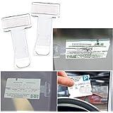WSS - 2x Car Windscreen Window Parking Ticket Permit Pass Holder Clip Clear Car Vehicle Van Caravan
