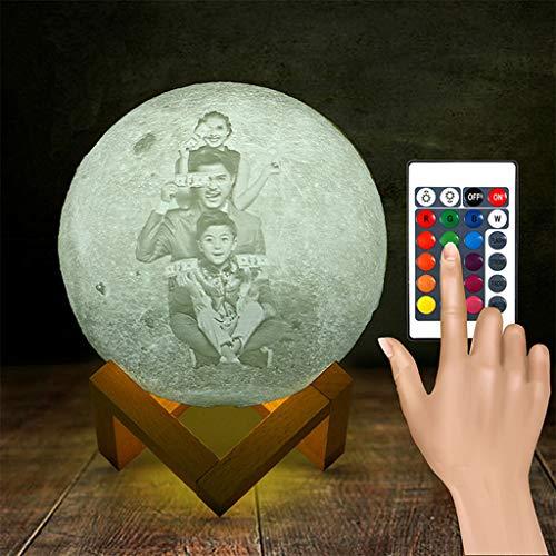 W&Z Personalisiertes Fotonachtlicht, maßgeschneiderte Mondlampe, maßgeschneidertes Stimmungslicht mit 16 dimmbaren Farben für den 3D-Druck von Fototextmustern,18cm -