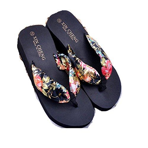 Amlaiworld Thongs Femme, Bohème Floral Sandales de Plage Lanières de Plate-forme Wedge Pantoufles Flip Flops (38, Noir)