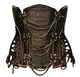 Bslingerie® Heavy Duty Steampunk Stahl ohne Knochen Unterbrust Korsett Corsage (XXL, Braun)