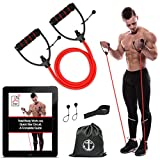 Anchor Workout Toning Heavy Fitness Tube Resistance Bands Cord for Exercise Fitness Pilates Strength Training Yoga Physio Crossfit with Foam Handles - Free Door Anchor and Carry bag. A Complete Home Gym (Red Heavy)