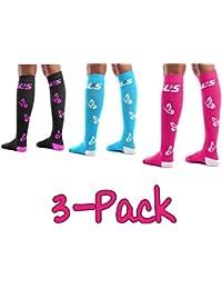 SLS3 | Calcetines de compresión para Mujer | Paquete de 3 Negro Morado/Azul Caribe