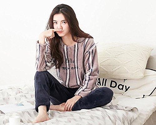 pigiama di flanella invernale da donna set 2 pezzi morbido addensare loungewear, M-XXL Colore dell'immagine