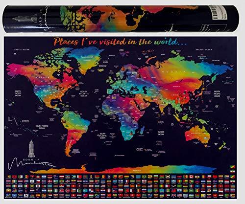 scratch off World Map poster/ /con gli Stati Uniti e paese bandiere Include Scratcher memoria e adesivi Track your avventure TM perfetto per viaggiatori by Earthabitats