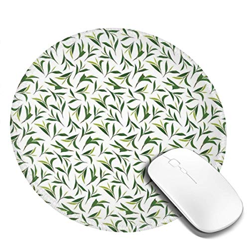 Round Mouse Pad,Green Tea Leaves On Plain Background Growth Health Herbs Foliage Nature Illustration,Non-Slip Gaming Mouse Mat